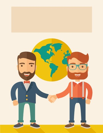 Two lucky hipster Caucasian businessmen with beard happily standing, holding their hands while working together telling the whole world that they are successful in their business partnership. Happy, winner concept. A contemporary style with pastel palette Illustration