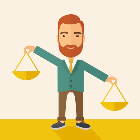 deciding: A hipster Caucasian businessman with beard carrying a balance scale with both hands weighing want and need. Balancing and priorization concept.  A contemporary style with pastel palette, beige tinted background. Vector flat design illustration. Square lay