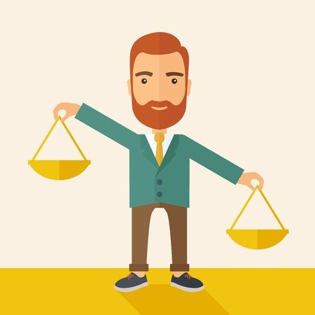 Een hipster Blanke zakenman met baard dragen van een weegschaal met beide handen een gewicht willen en nodig hebben. Balancing en Voorrang concept. Een eigentijdse stijl met pastel palet, beige getinte achtergrond. Vector platte ontwerp illustratie. Vierkante lay