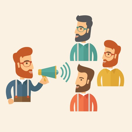 business meeting: Three hipster Caucasian businesspeople with beard at office smiling together happy listening to their speaker holding a megaphone discussing a business proposal. Business meeting concept. A contemporary style with pastel palette, beige tinted background.  Illustration