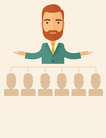An executive good looking and happy  Caucasian with beard explaining and presenting a business marketing plans to his employees infront of him inside the training room. Planning a business concept. A contemporary style with pastel palette, beige tinted ba