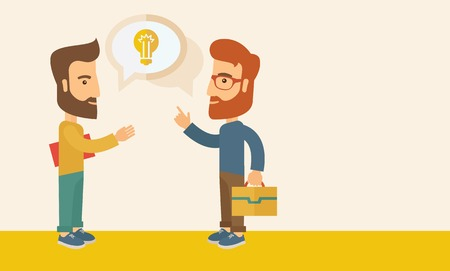 human kind: Two hipster Caucasian friends with beard standing  planning and sharing brilliant ideas with their hands raising on what kind of business they want to build up.  Human intelligence concept. A contemporary style with pastel palette, beige tinted background
