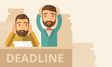 Two sad face hipster Caucasian gentlemen with beard has a big problem because they failed to submit their project  on the deadline with their  two hands raising up. Disappointed, miserable concept. A contemporary style with pastel palette, beige tinted ba