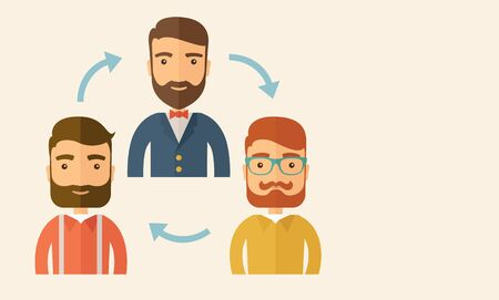 come up: Three happy Caucasian employees with beard communicating and exchanging ideas each other for them to  come up a   good marketing strategy before they will present it. Teamwork and gathering ideas concept. A contemporary style with pastel palette, beige ti