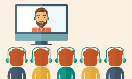 A happy Caucasian businessman in a monitor with beard giving a business presentation with three men infront of him wearing their headphones. Business presentation concept. A contemporary style with pastel palette, beige tinted background. Vector flat desi