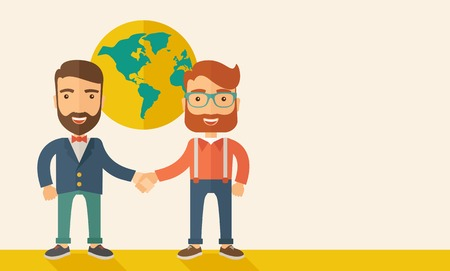 partnership: Two lucky hipster Caucasian businessmen with beard happily standing, holding their hands while working together telling the whole world that they are successful in their business partnership. Happy, winner concept. A contemporary style with pastel palette Illustration