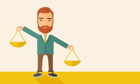 scale icon: A hipster Caucasian businessman with beard carrying a balance scale with both hands weighing want and need. Balancing and priorization concept.  A contemporary style with pastel palette, beige tinted background. Vector flat design illustration. Horizontal