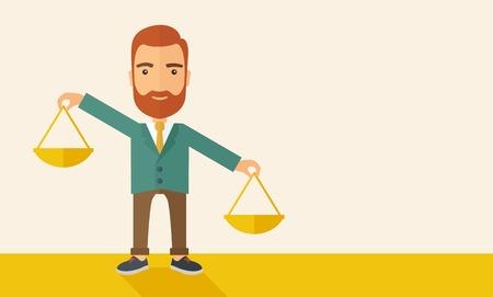 responsabilidad: Un hombre de negocios cauc�sico inconformista con barba llevando una balanza con ambas manos que pesan quieren y necesitan. Equilibrio y concepto de priorizaci�n. Un estilo contempor�neo con la paleta de colores pastel, fondo beige tintado. Vector dise�o plano ilustraci�n. Horizontal Vectores