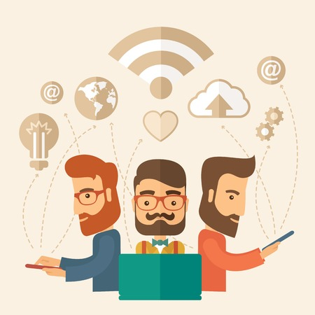 Three outstanding hipster Caucasian employees with beard discussing and sharing brilliant ideas, gathering an information, preparing for their marketing plan presentation using their tablets and laptop with wifi connection. Brainstorming, teamwork concept Vector