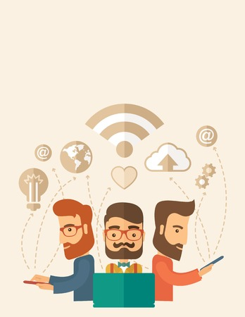 outstanding: Three outstanding hipster Caucasian employees with beard discussing and sharing brilliant ideas, gathering an information, preparing for their marketing plan presentation using their tablets and laptop with wifi connection. Brainstorming, teamwork concept Illustration