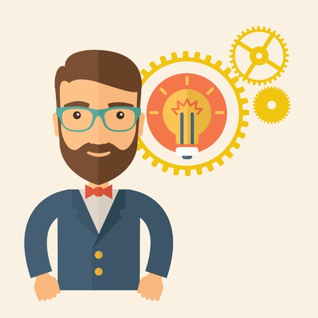A young good looking, smart hipster Caucasian man with beard thinking a new bright idea, a different kind of imagination inspired by bulb shape. Human intelligence concept. A contemporary style with pastel palette, beige tinted background. Vector flat des