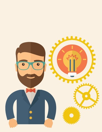 good looking: A young good looking, smart hipster Caucasian man with beard thinking a new bright idea, a different kind of imagination  inspired by bulb shape. Human intelligence concept.A contemporary style with pastel palette, beige tinted background. Vector flat des