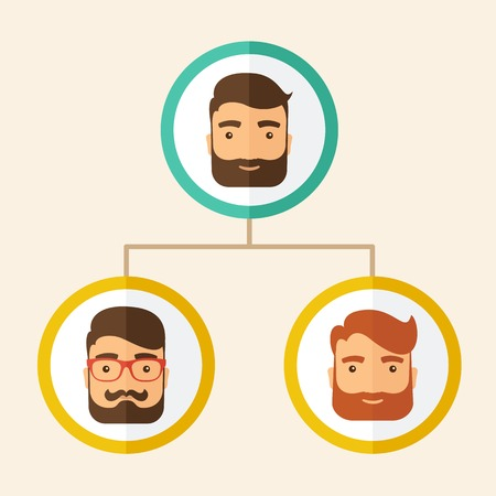 A company chart of three hipster Caucasian employees with beard ranking themselves from higher position down to the next position level, for them to know who will be the leader or the superior. Leadership, teamwork concept. A contemporary style. Vector fl