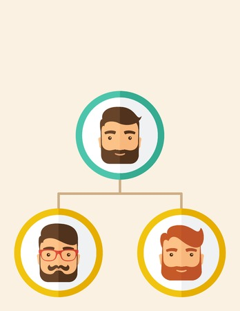 A company chart of three hipster Caucasian employees with beard ranking themselves from higher position down to the next position level. Leadership, teamwork concept. A contemporary style. Vector flat design illustration isolated on white background. Vert