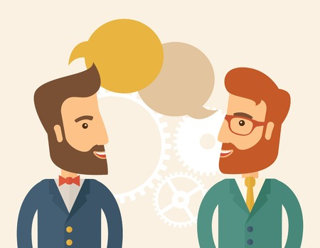 Two happy hipster Caucasian men with beard facing each other wearing jacket sharing and gathering ideas with bubble text on the top of their heads. Team building concept. A contemporary style with pastel palette, beige tinted background. Vector flat desig Vectores