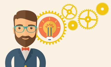 A young good looking, smart hipster Caucasian man with beard thinking a new bright idea, a different kind of imagination  inspired by bulb shape. Human intelligence concept.A contemporary style with pastel palette, beige tinted background. vector flat des Vector