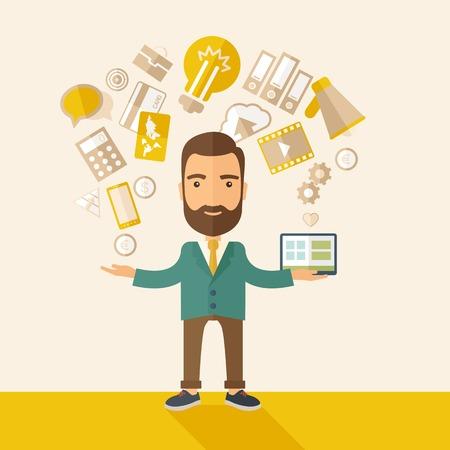 Eine glückliche hipster Kaukasisch einen Selbst mit Bart Standing genießen dabei ein Multitasking, arbeitet an verschiedenen Projekten aus seinem Büro zu Hause nur mit sich selbst beschäftigt. Selbstvertrauen Konzept. Eine zeitgemäßen Stil mit Pastellpalette beige getönten Hintergrund. Vect Standard-Bild - 38154453