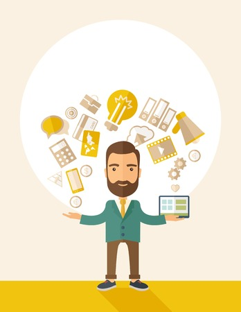 A happy hipster Caucasian  a  self employed with beard standing enjoying doing a multitasking, working on different projects from his home office only by himself. Self reliance concept. A contemporary style with pastel palette, beige tinted background. Ve