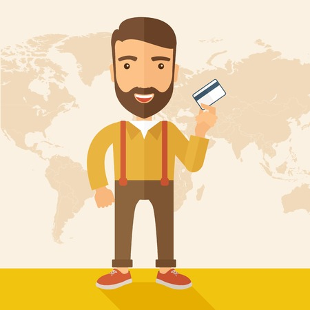 A happy hipster Caucasian businessman thankfully standing holding his credit card. Fulfillment concept. A contemporary style with pastel palette, beige tinted background. Vector flat design illustration. Square layout.