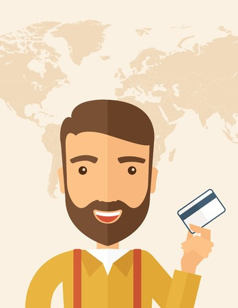 fulfillment: A happy hipster Caucasian businessman thankfully standing holding his credit card. Fulfillment concept. A contemporary style with pastel palette, beige tinted background. Vector flat design illustration. Vertical layout with text space on top part Illustration