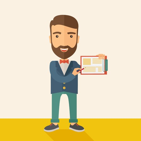 hand holding paper: A handsome hipster caucasian man wearing blue jacket holding his clipboard with paper where he wrote his report happily presenting his marketing plan. Marketing strategy concept. A contemporary style with pastel palette, beige tinted background. Vector fl