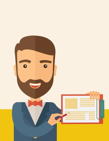 ascot: A handsome hipster caucasian man wearing blue jacket holding his clipboard with paper where he wrote his report happily presenting his marketing plan. Marketing strategy concept. A contemporary style with pastel palette, beige tinted background. Vector fl