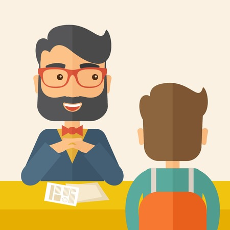interview: A smiling Caucasian human resource manager with beard interviewed the applicant with his curriculum vitae for the job vacancy.  Employment, recruitment concept. A contemporary style with pastel palette, beige tinted background. Vector flat design illustra