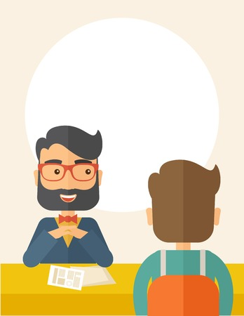 rookie: A smiling Caucasian human resource manager with beard interviewed the applicant with his curriculum vitae for the job vacancy.  Employment, recruitment concept. A contemporary style with pastel palette, beige tinted background. Vector flat design illustra