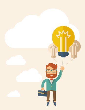 A caucasian hipster with beard carrying a briefcase with bulb as balloon to take him fly high. Happy and success concept. A contemporary style with pastel palette, beige tinted background with desaturated cloud.  Vector flat design illustration. Square la Vector