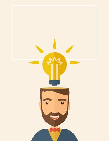 A Caucasian businessman with beard has a bright idea for marketing strategy with a bulb on his head. Human intelligence concept. A contemporary style with pastel palette, beige tinted background. Vector flat design illustration. Vertical layout with text  Vector
