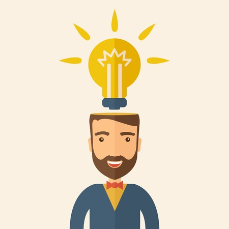 A Caucasian businessman with beard has a bright idea for marketing strategy with a bulb on his head. Human intelligence concept. A contemporary style with pastel palette, beige tinted background. Vector flat design illustration. Square layout. Vector