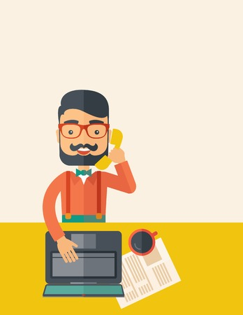 Hipster Caucasian online customer service operator with beard smiling while talking to his customer inside his office. Business communication concept. A contemporary style with pastel palette, beige tinted background. Vector flat design illustration. Vert