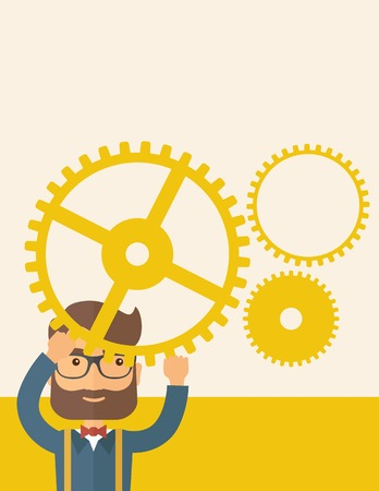 Hipster Caucasian businessman with beard wearing glasses standing holding up gear planning to go into technology business. Planning concept. A contemporary style with pastel palette, beige tinted background. Vector flat design illustration. Vertical layou