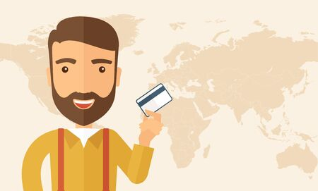 fulfillment: A happy hipster Caucasian businessman thankfully standing holding his a credit card. Fulfillment concept. A contemporary style. Vector flat design illustration isolated on white background. Horizontal layout with text space in right side,