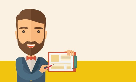 A handsome hipster caucasian man wearing blue jacket holding his clipboard with paper where he wrote his report happily presenting his marketing plan. Marketing strategy concept. A contemporary style with pastel palette, beige tinted background. Vector fl