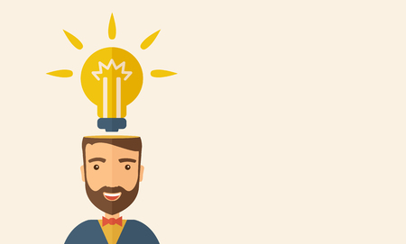 A Caucasian businessman with beard has a bright idea for marketing strategy with a bulb on his head. Human intelligence concept. A contemporary style with pastel palette, beige tinted background. Vector flat design illustration. Horizontal layout with tex Vector