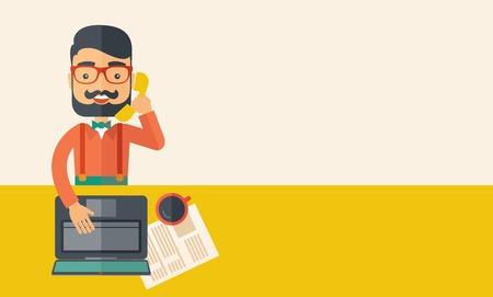 Hipster Blank online customer service operator met baard glimlachen terwijl praten met zijn klanten in zijn kantoor. Zakelijke communicatie concept. Een eigentijdse stijl met pastel palet, beige getinte achtergrond. Vector platte ontwerp illustratie. Hori