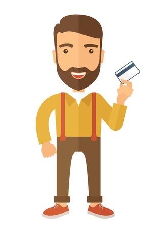 fulfillment: A happy hipster Caucasian businessman thankfully standing holding his  credit card a credit card. Fulfillment concept. A contemporary style with pastel palette, beige tinted background. Vector flat design illustration.