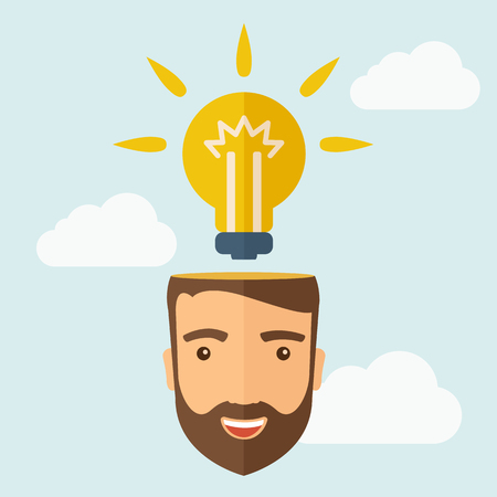 A young happy Caucasian businessman with beard thinking about success solution. Human intelligence concept. A contemporary style with pastel palette, soft blue tinted background with desaturated clouds. Vector flat design illustration. Square layout.