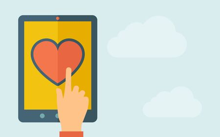 A hand is touching the screen of a tablet with heart icon. A contemporary style with pastel palette, light blue cloudy sky background. Vector flat design illustration. Horizontal layout with text space on right part.