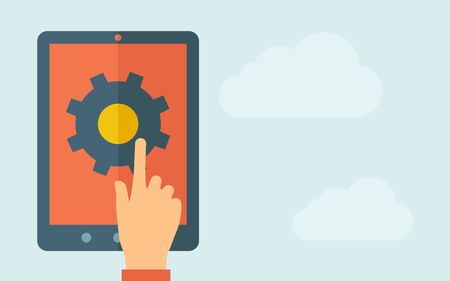 A hand is touching the screen of a tablet with gear icon.  A contemporary style with pastel palette, light blue cloudy sky background. Vector flat design illustration. Horizontal layout with text space on right part. Illustration