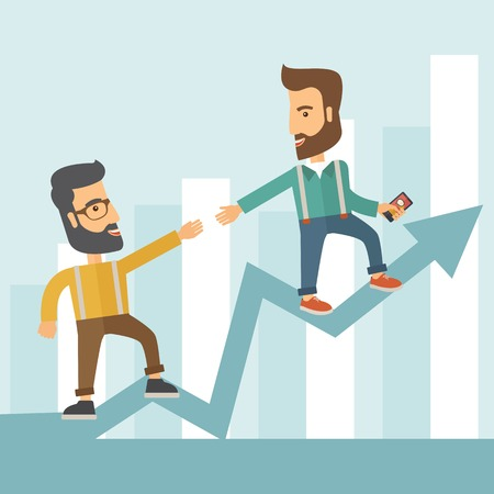 Two hipster Caucasian businessmen with beard standing working together to reach their quota in sales with the arrow up showing that they are successful. Teamwork concept. A contemporary style with pastel palette soft blue tinted background. Vector flat de Illustration
