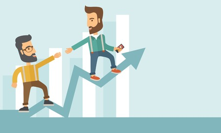 Two hipster Caucasian businessmen with beard standing working together to reach their quota in sales with the arrow up showing that they are successful. Teamwork concept. A contemporary style with pastel palette soft blue tinted background. Vector flat de 일러스트