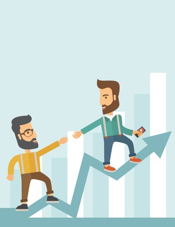 Two hipster Caucasian businessmen with beard standing working together to reach their quota in sales with the arrow up showing that they are successful. Teamwork concept. A contemporary style with pastel palette soft blue tinted background. Vector flat de Vector