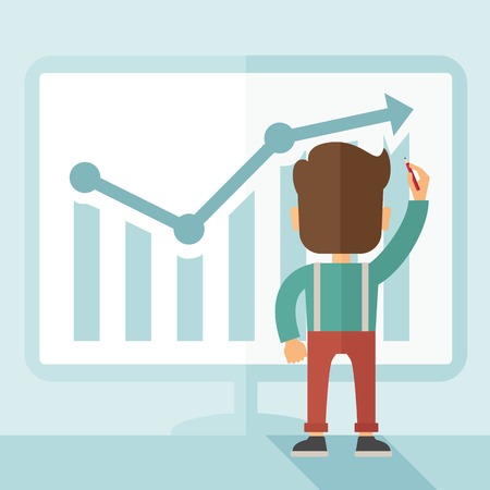 illustrating: A Caucasian businessman facing backward standing infront of his chart holding a pen illustrating his marketing sales. Business growth concept. A contemporary style with pastel palette soft blue tinted background. Vector flat design illustration. Square la