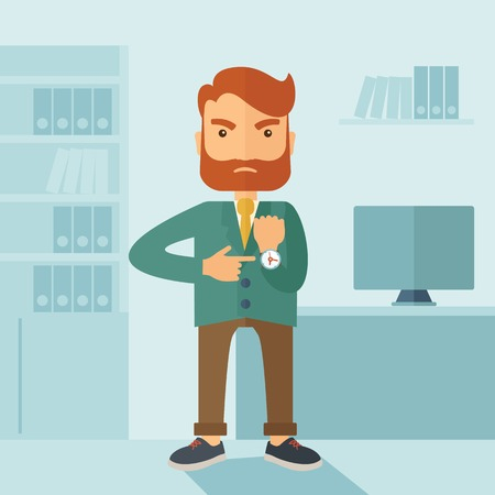 A hipster Caucasian businessman with beard standing angry pointing his wristwatch inside his office. Angry concept . A contemporary style with pastel palette soft blue tinted background. Vector flat design illustration. Square layout. Illustration