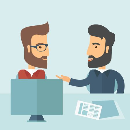 business deal: Two Caucasian businessmen with beard sitting while talking infront of laptop and documents agreeing on a business deal. Partnership, teamwork concept. A contemporary style with pastel palette soft blue tinted background. Vector flat design illustration. S Illustration
