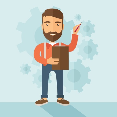 the reporting: A hipster Caucasian employee with beard standing holding a pen presenting and sharing his report in marketing strategy inside conference room. Reporting concept. A contemporary style with pastel palette soft blue tinted background. Vector flat design illu Illustration