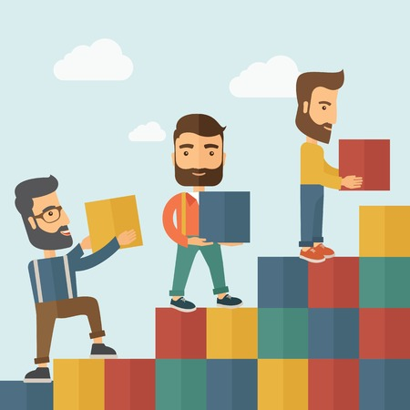 Three hipster Caucasian men with beard carrying blocks putting one by one going up as a sign of increasing sales. Team building concept.  A contemporary style with pastel palette soft blue tinted background with desaturated clouds. Vector flat design illu Vettoriali