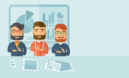 Three hipster Caucasian business men with beard happy clapping their hands for the success presentation with tablet cellphone and papers infront of them. Winner concept. A contemporary style with pastel palette soft blue tinted background. Vector flat des